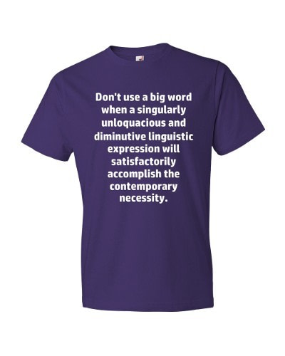Don't Use Big Words T-Shirt (purple)